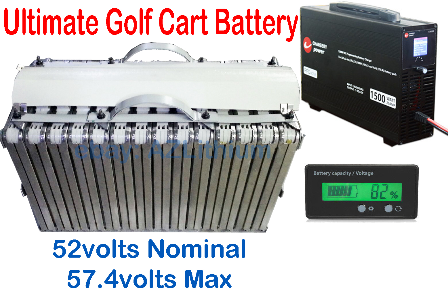 2014 Nissan Leaf 57volts 7kwh 120AH 14s Lithium Battery 48V Golf Cart, Charger, Meter 54K